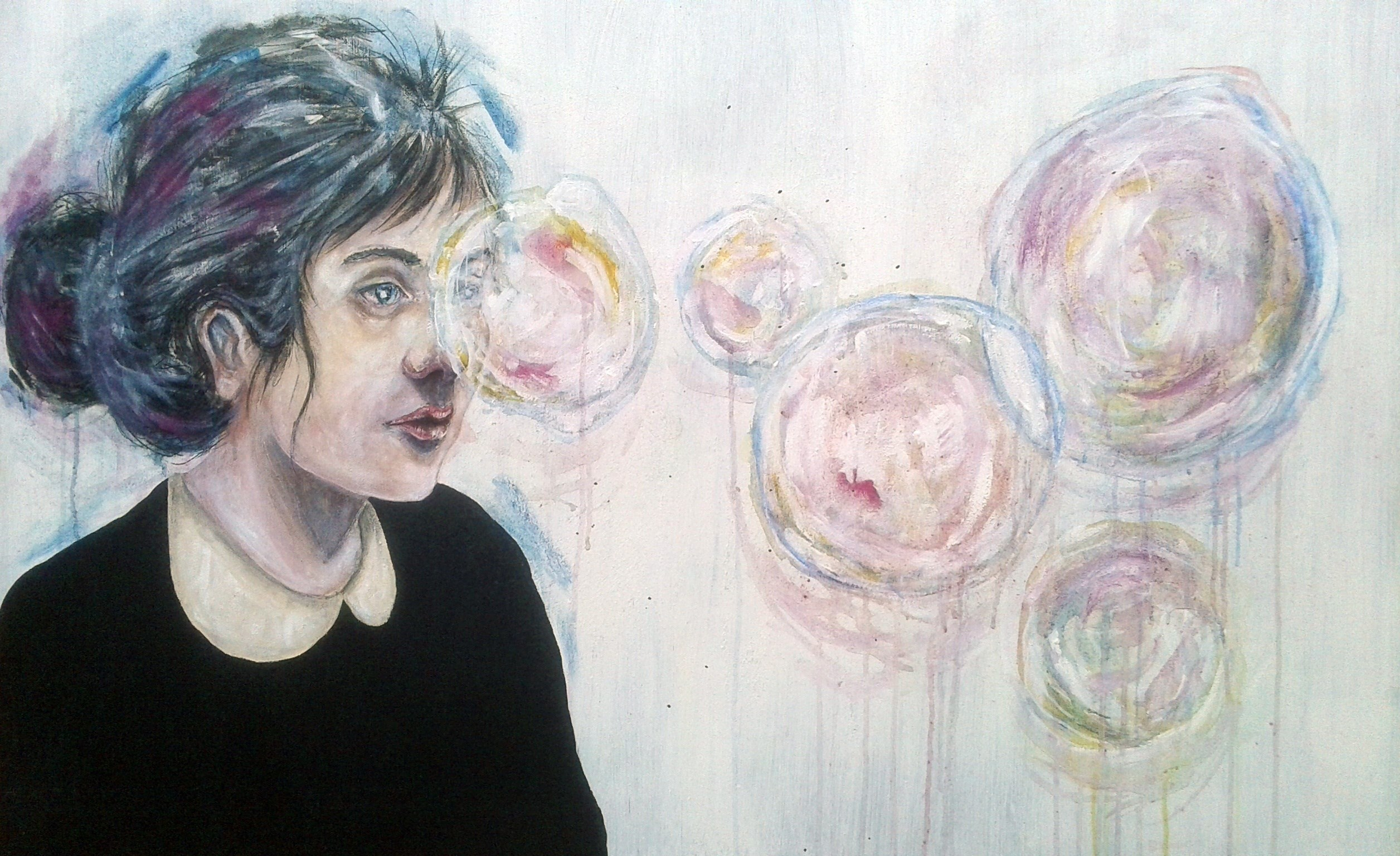 Bubble time, original Human Figure Acrylic Painting by Jaume Mora