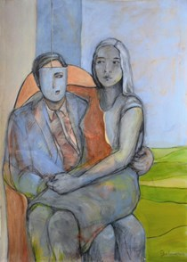 """Sitting"", original Mixed Techniques Painting by Isabel MOURAO"