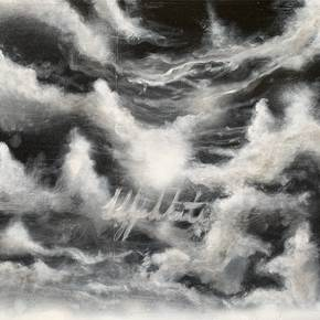Clouds, original B&W Acrylic Painting by José Rodrigues