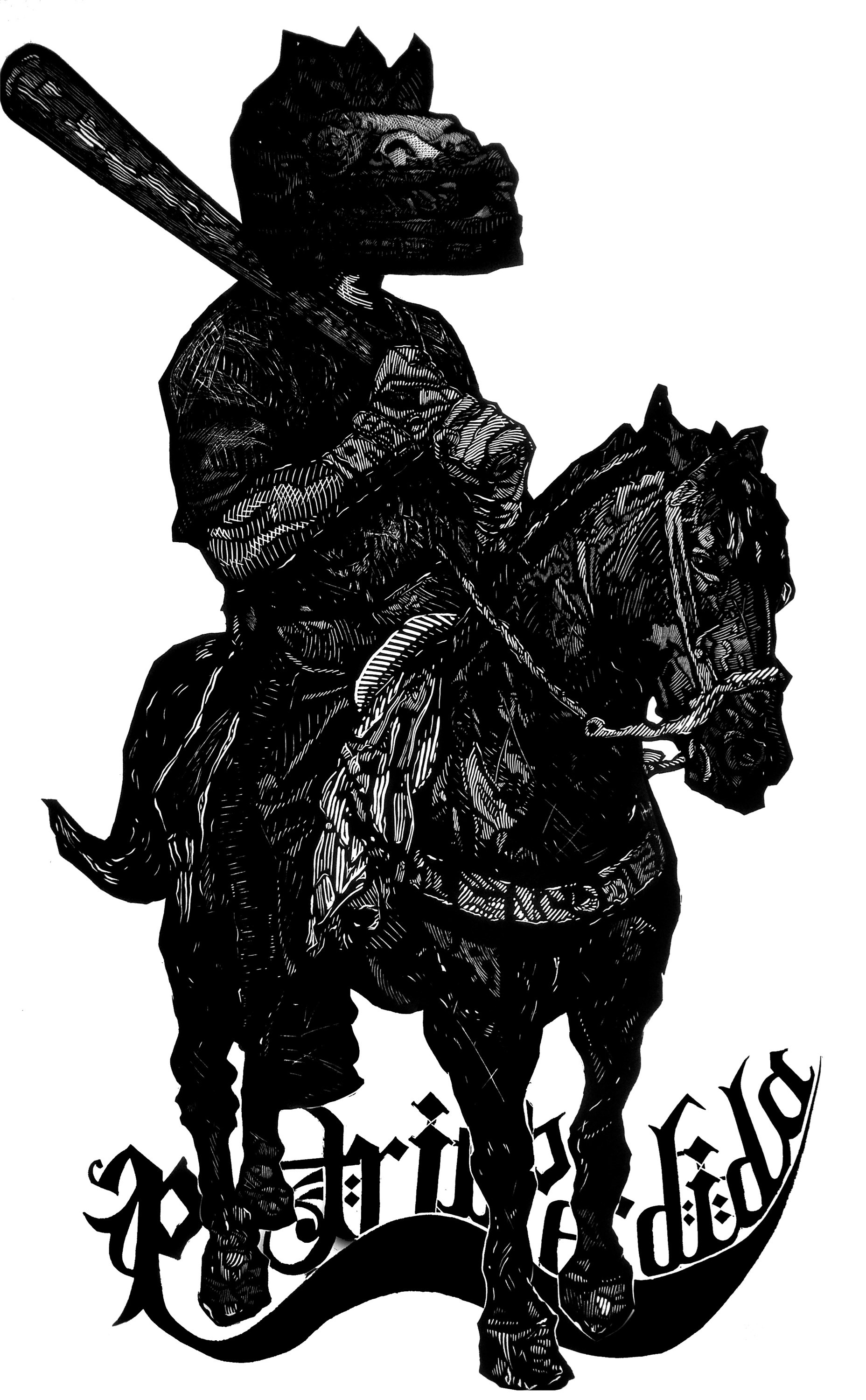 La Patria Perdida, original Human Figure Woodcut Drawing and Illustration by Humberto Valdez