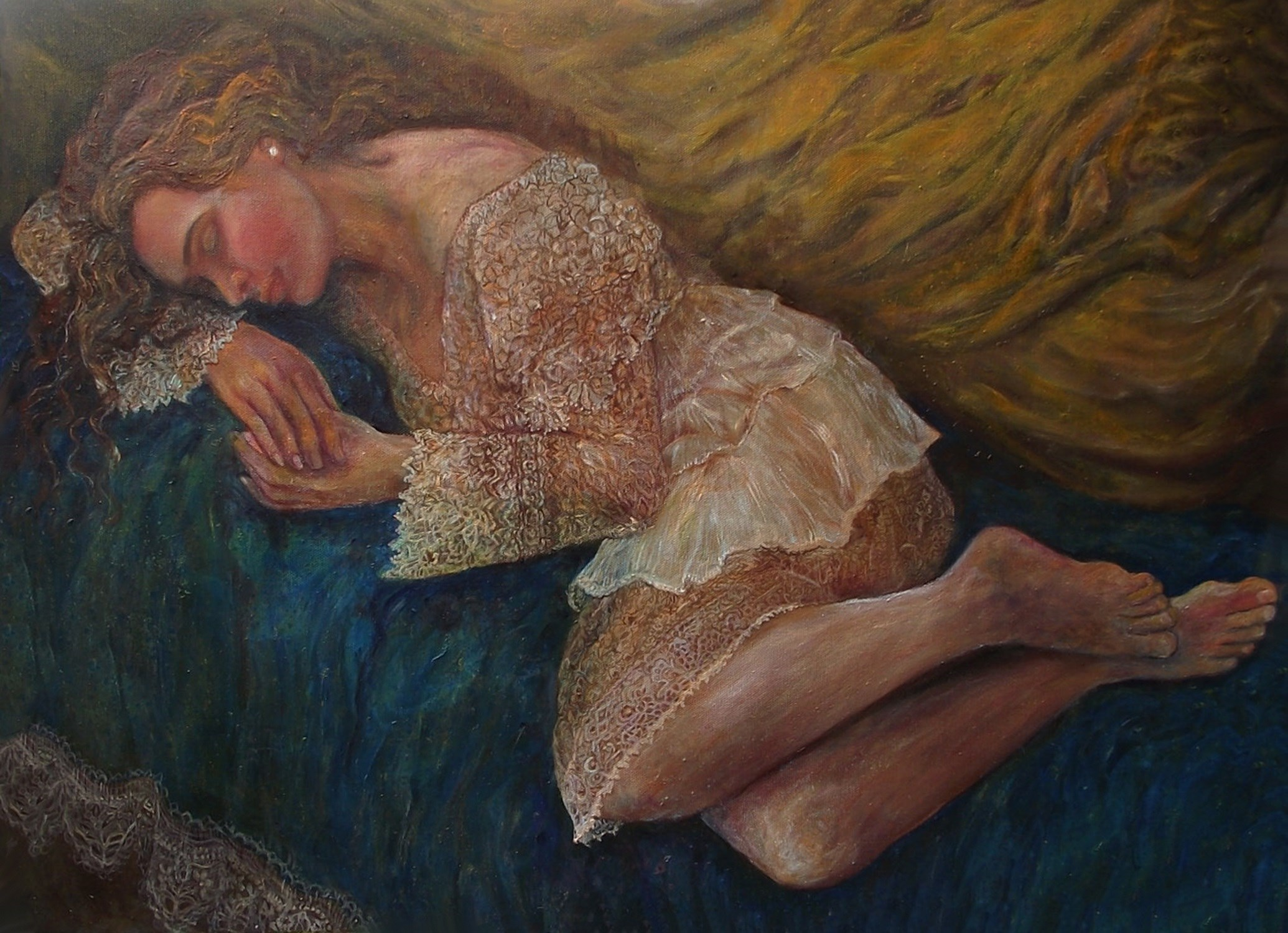 Dreaming in Blue, original Body Canvas Painting by Dorina and Diana  Pantea