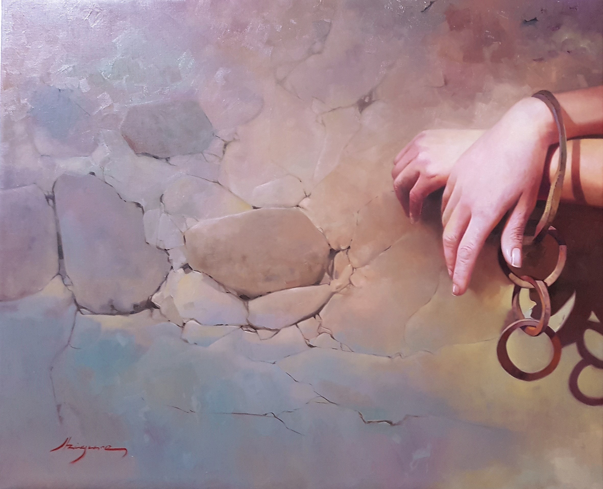 Prisionera de sus deseos, original Body Canvas Painting by Jose Higuera