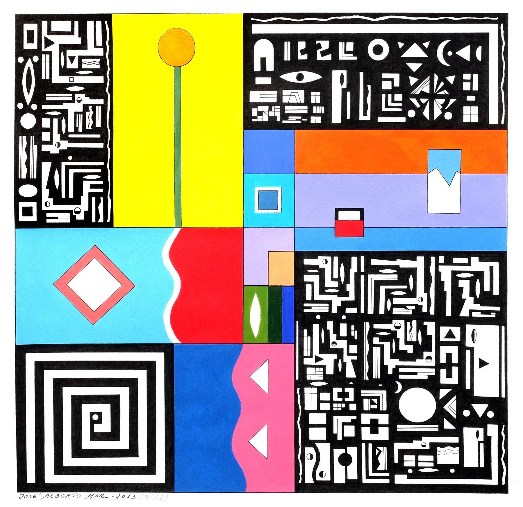 SERIES: SMALL WISDOMS (Nº 21). SÉRIE: PEQUENAS SABEDORIAS (Nº21), original Geometric Acrylic Painting by José Alberto Mar
