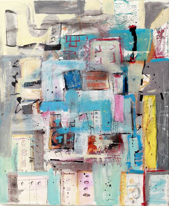 Portrait of a city in Spring, original Abstract Acrylic Painting by Flavio Man