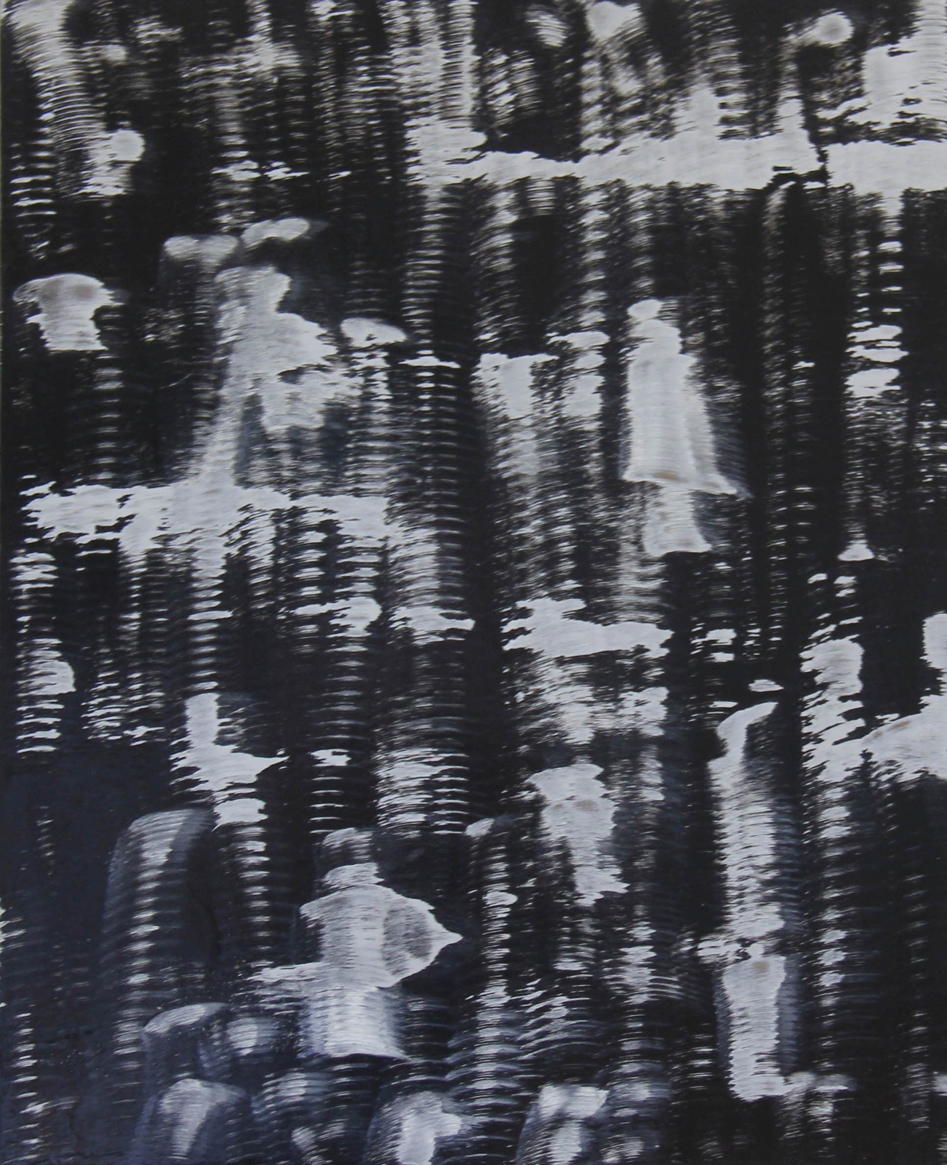 Sem título #5, original B&W Mixed Technique Painting by Anabela Rodrigues