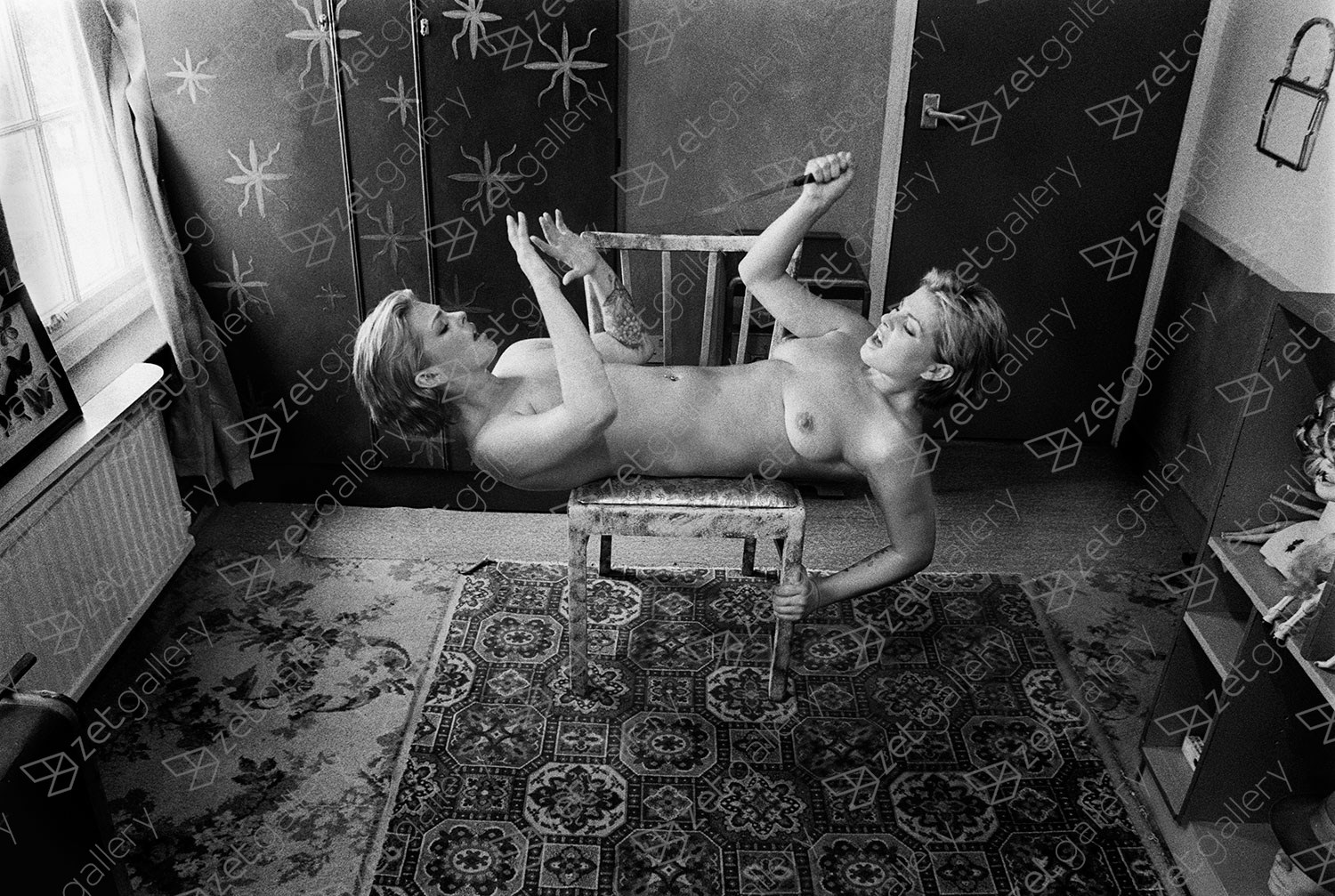 Succubus with Knife, original Avant-Garde Analog Photography by Alva Bernadine