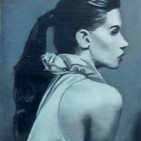 Jeune fille de profil, original Human Figure Oil Painting by Ricardo Gonçalves