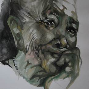Refugee, original Human Figure Watercolor Drawing and Illustration by Vânia Clemente Ferreiro