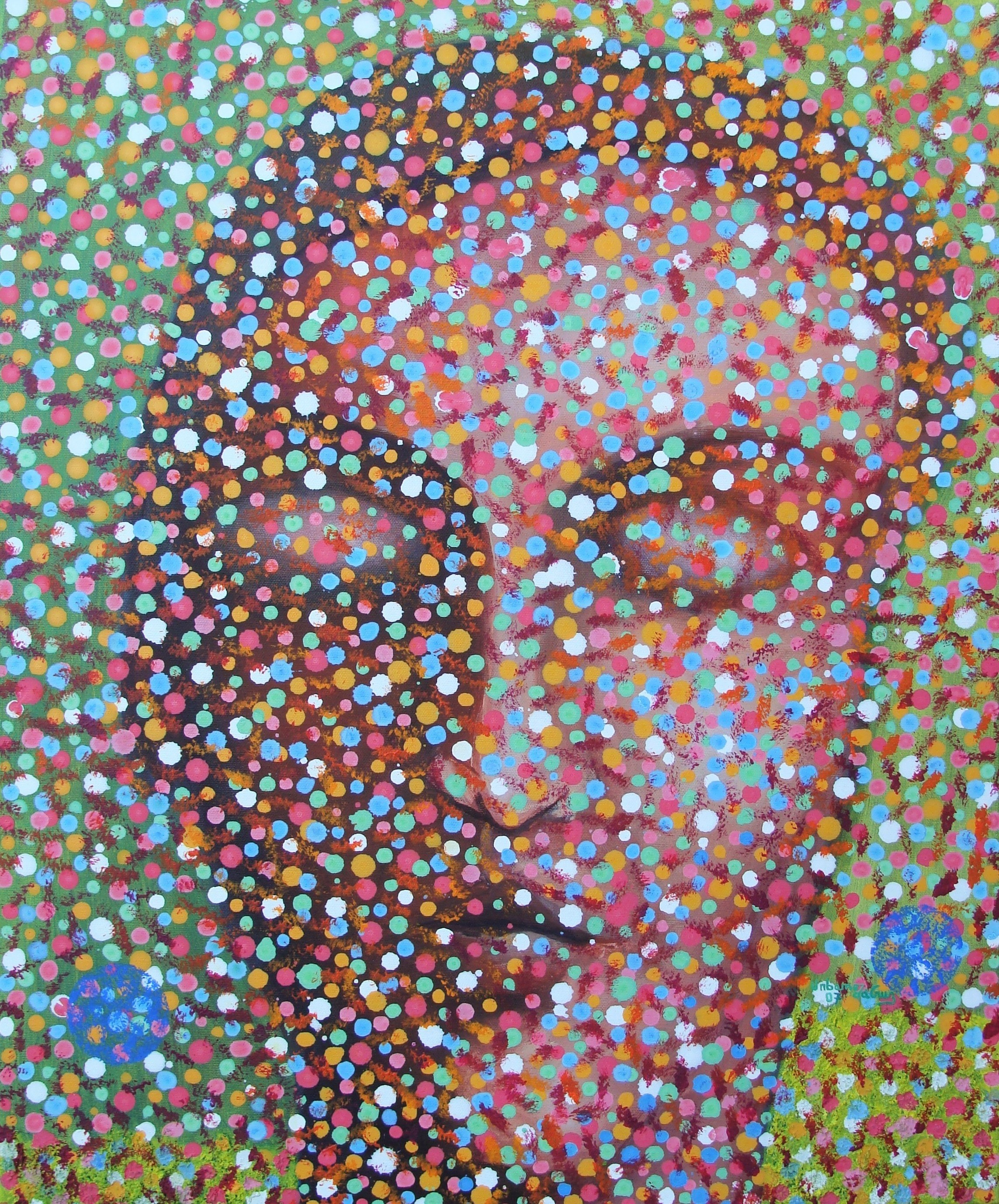Meditativo., original Portrait Acrylic Painting by Urbano da Cruz