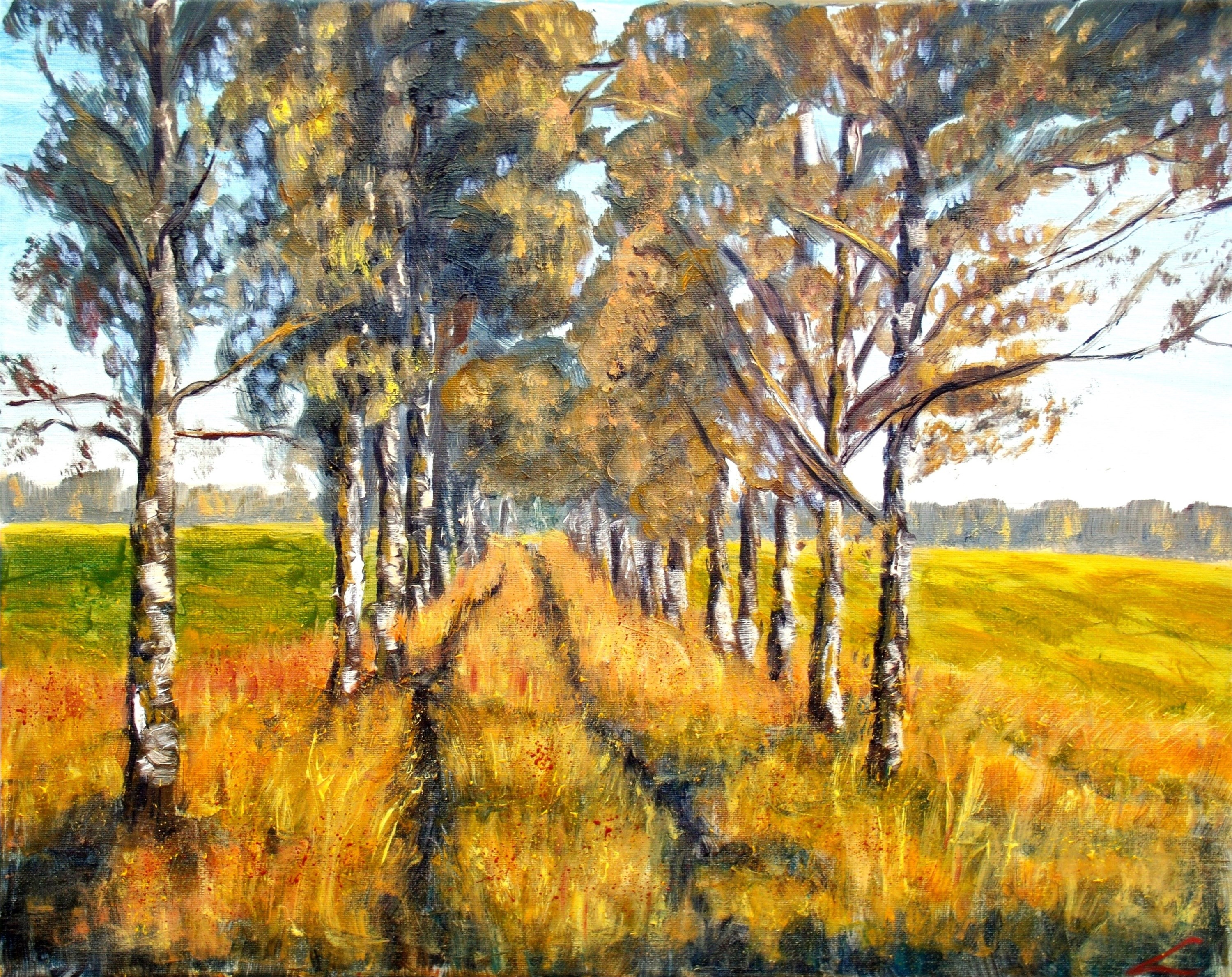 Golden Road, original Landscape Canvas Painting by Elena Sokolova