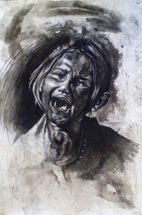 Agony, original Body Canvas Drawing and Illustration by Sal  Silva