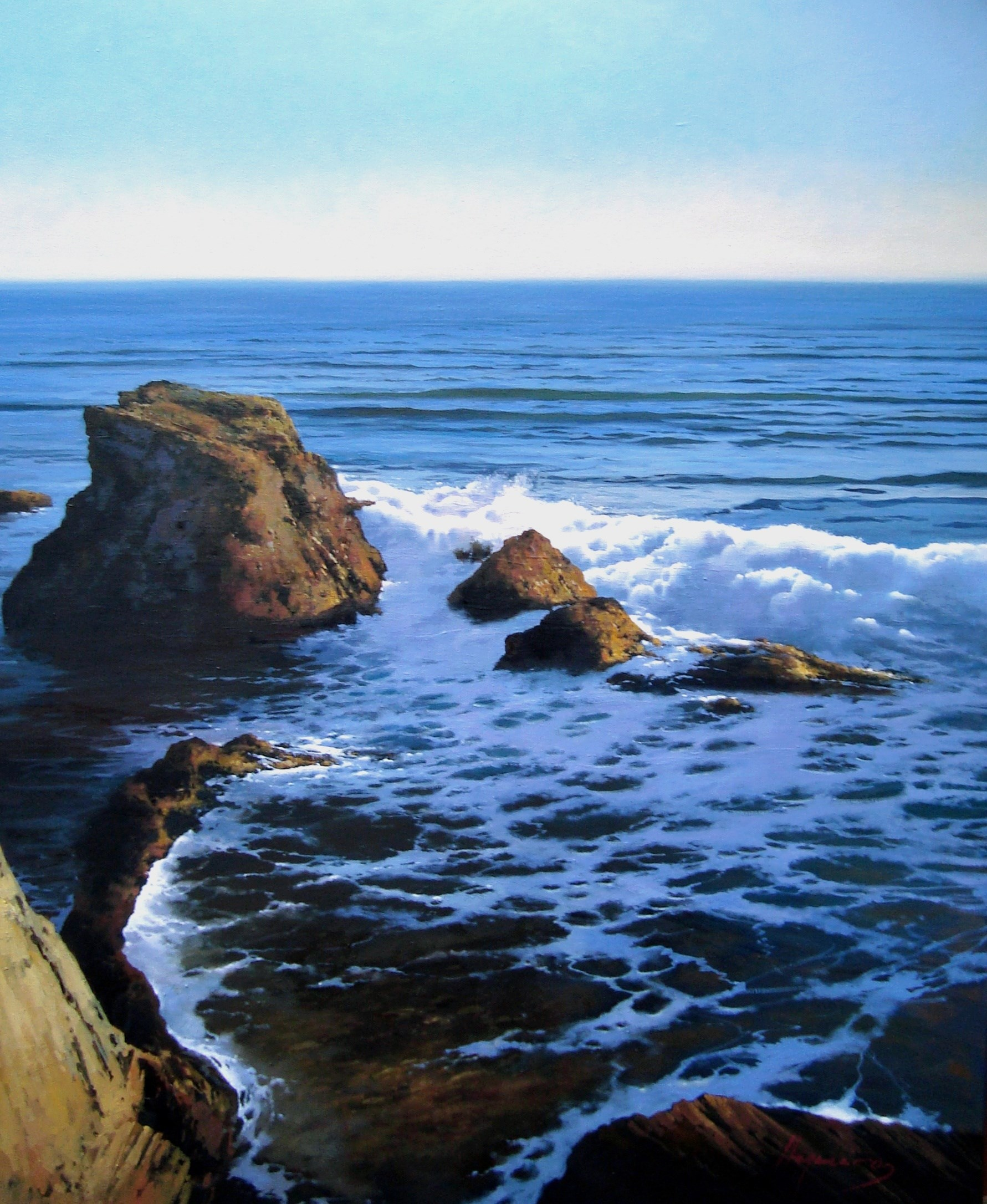 Mar del Norte, original Landscape Canvas Painting by Jose Higuera