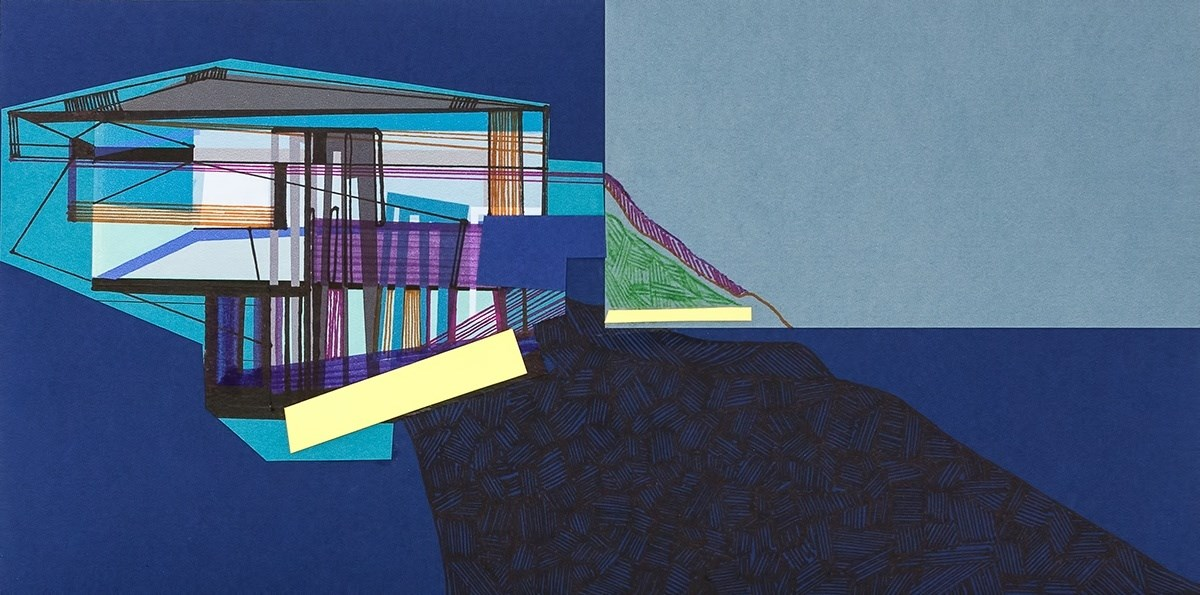 Casa de partida #7, original Geometric Collage Drawing and Illustration by Ana Pais Oliveira