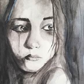 I am happier on Facebook, original Human Figure Watercolor Painting by Ana Maria Costa