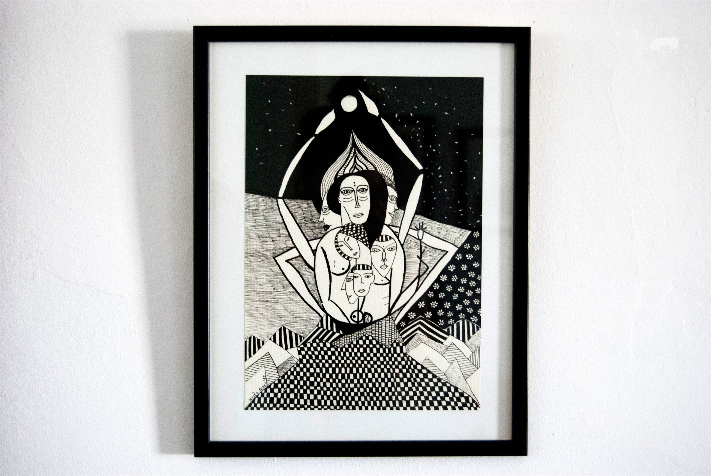 Celebrando, original Abstract Ink Drawing and Illustration by Inês Peres