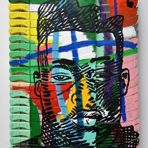 African Hair Cut 3, original Avant-Garde Mixed Technique Painting by Francisco Vidal