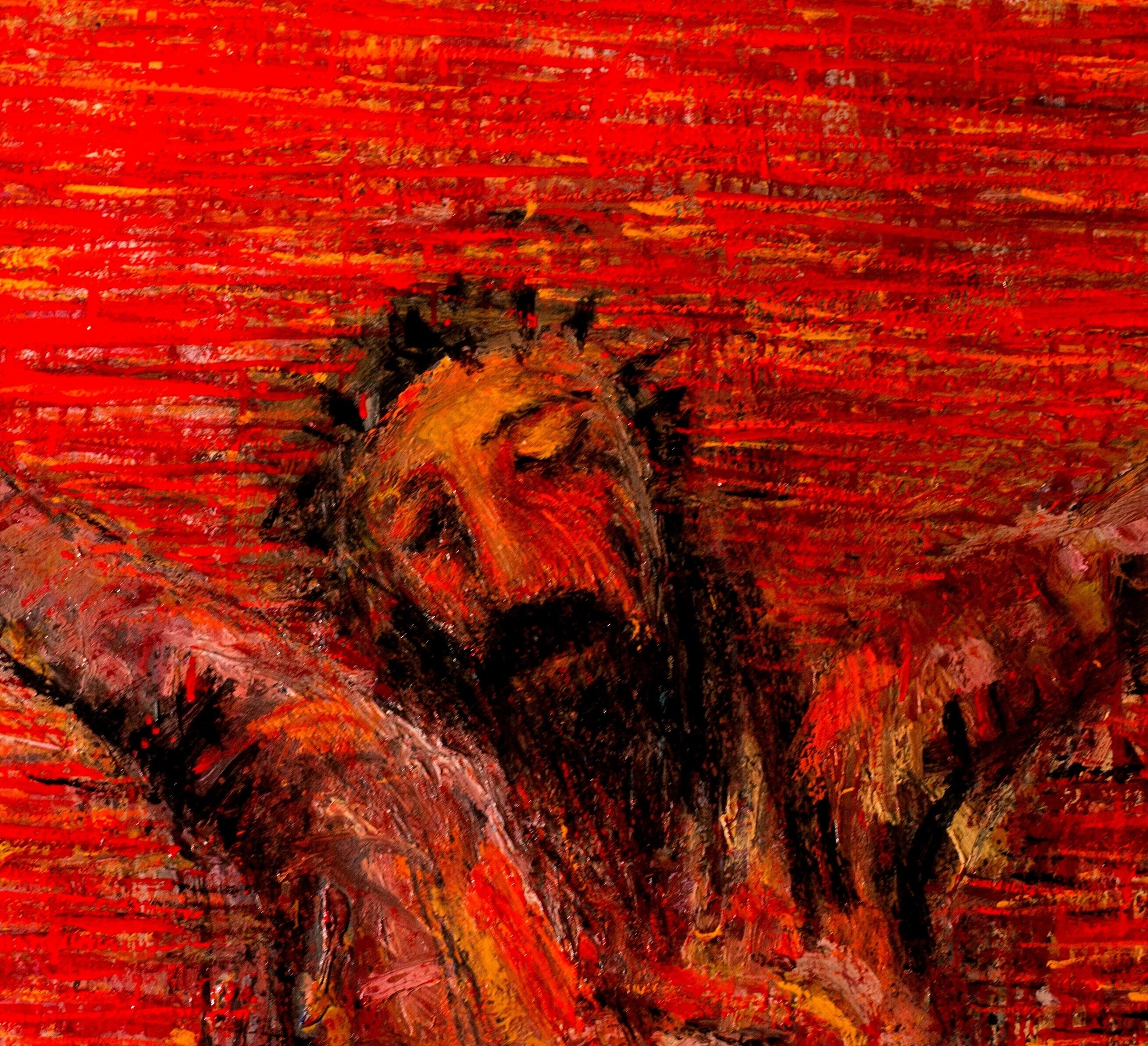 A Crucificação, original Big Hardboard Painting by Alberto Péssimo