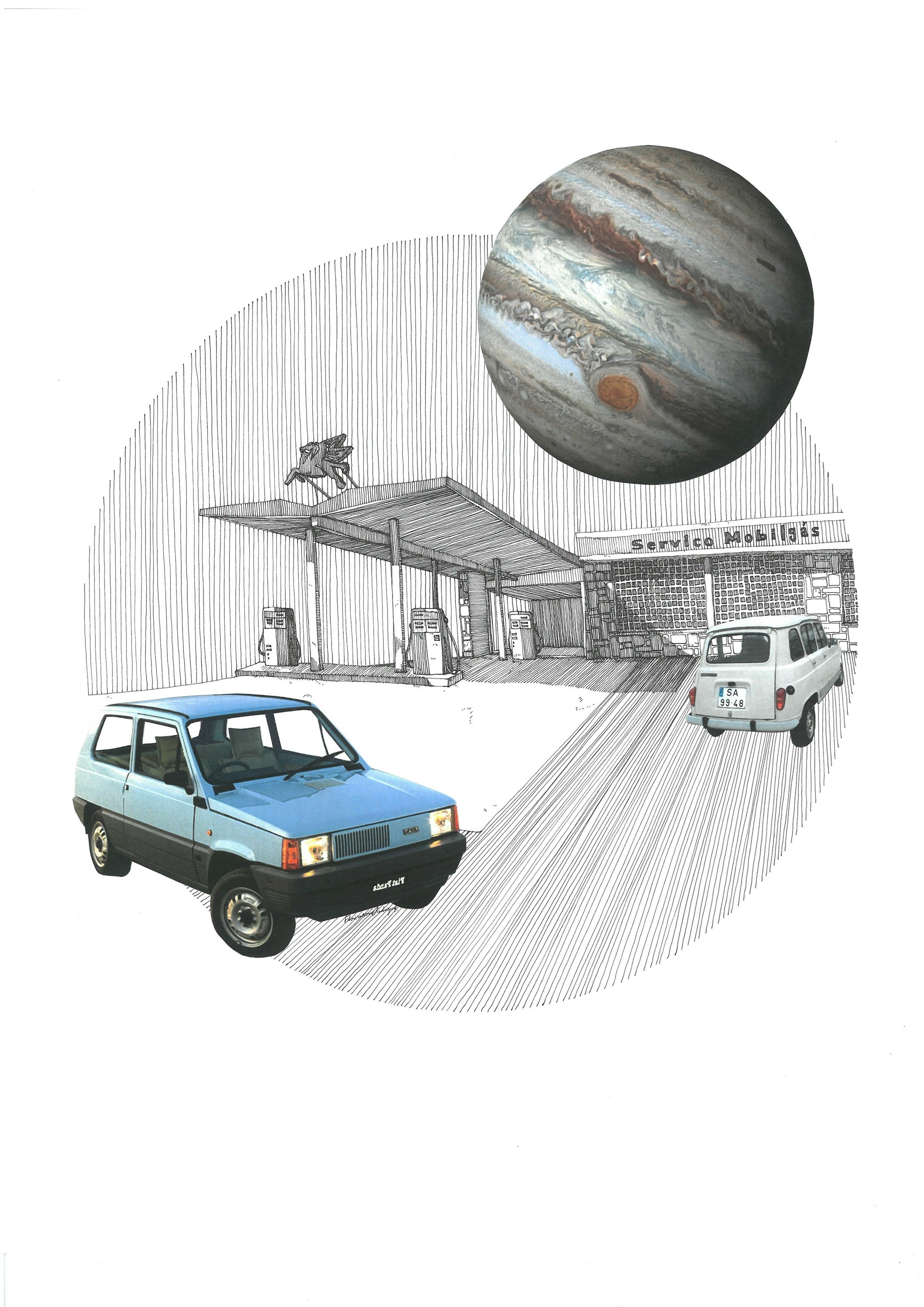 Fiat Panda, original Architecture Collage Drawing and Illustration by Florisa Novo Rodrigues