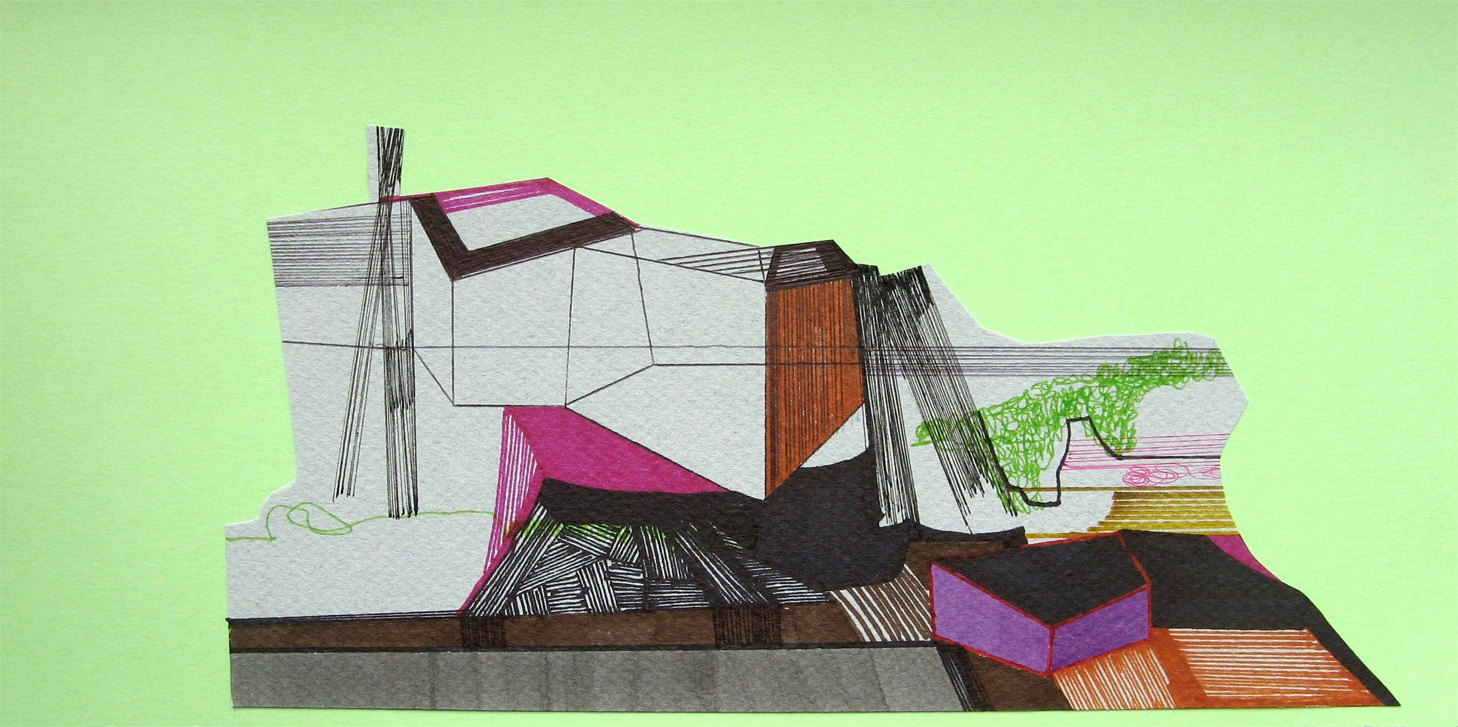 Casa de partida #18, original Geometric Collage Drawing and Illustration by Ana Pais Oliveira
