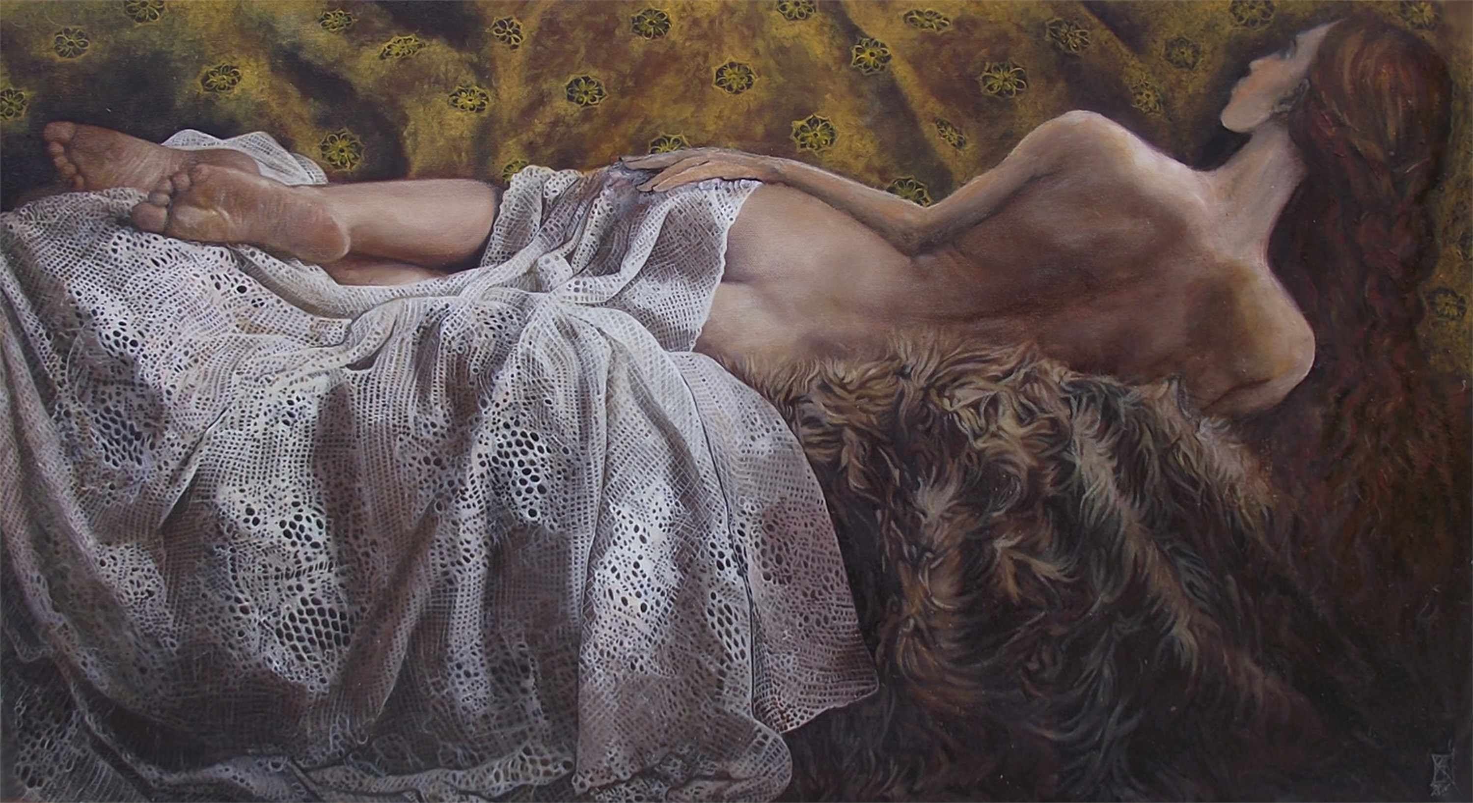 Reverie, original Body Canvas Painting by Dorina and Diana  Pantea