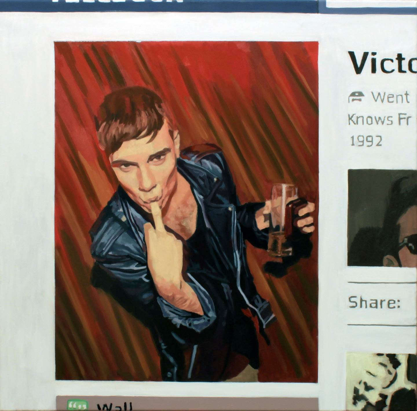 Profile picture, Victor, original Body Canvas Painting by Pablo Mercado
