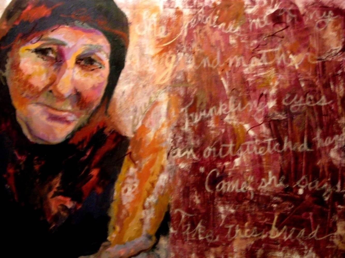 Take This Bread, original Woman Acrylic Painting by Connie Freid