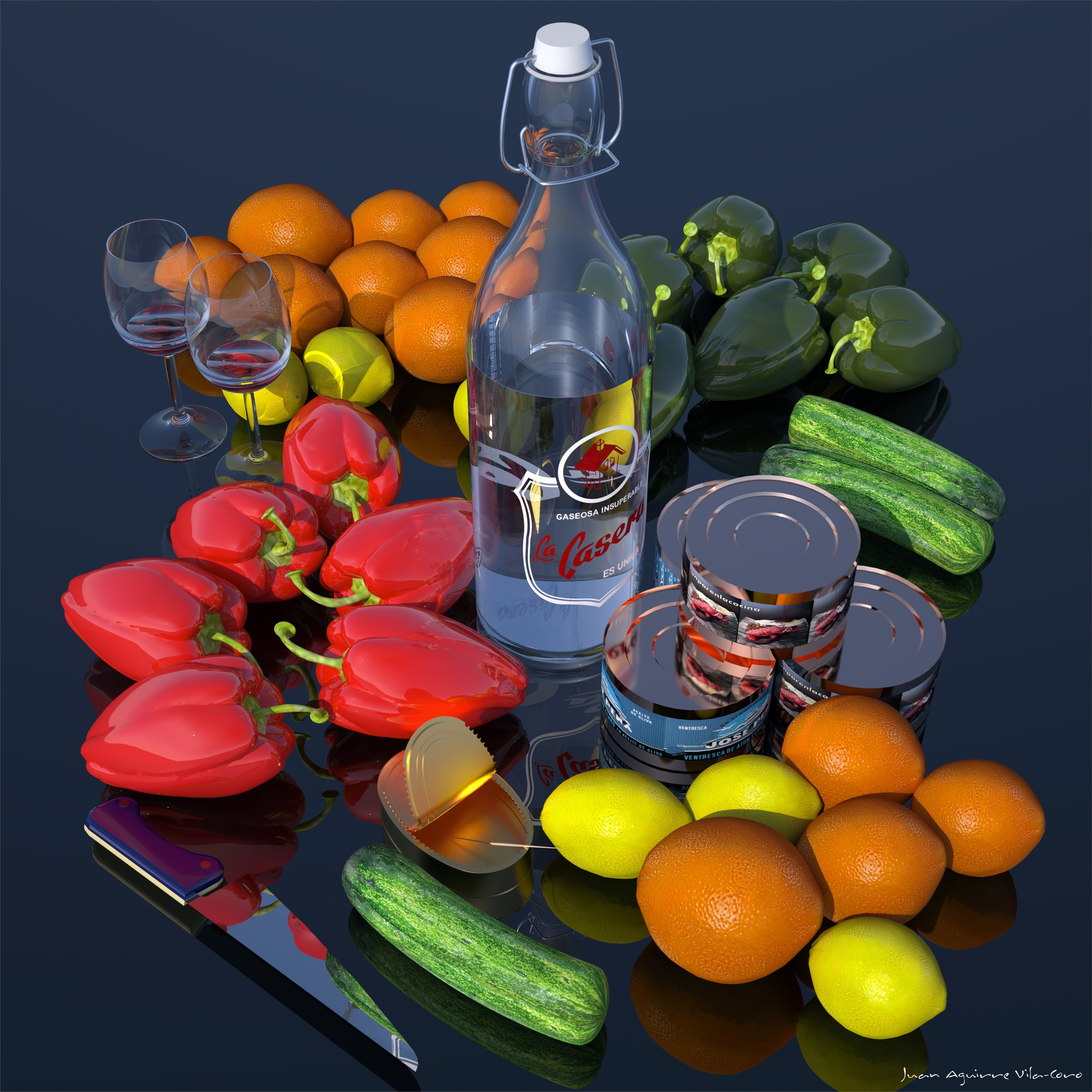 BODEGON EN PVC, original Still Life Digital Painting by juan aguirre