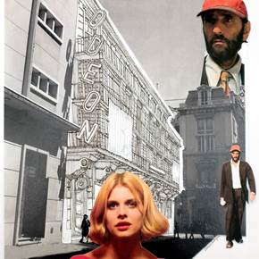 Cinema Odeón, original Architecture Collage Drawing and Illustration by Florisa Novo Rodrigues