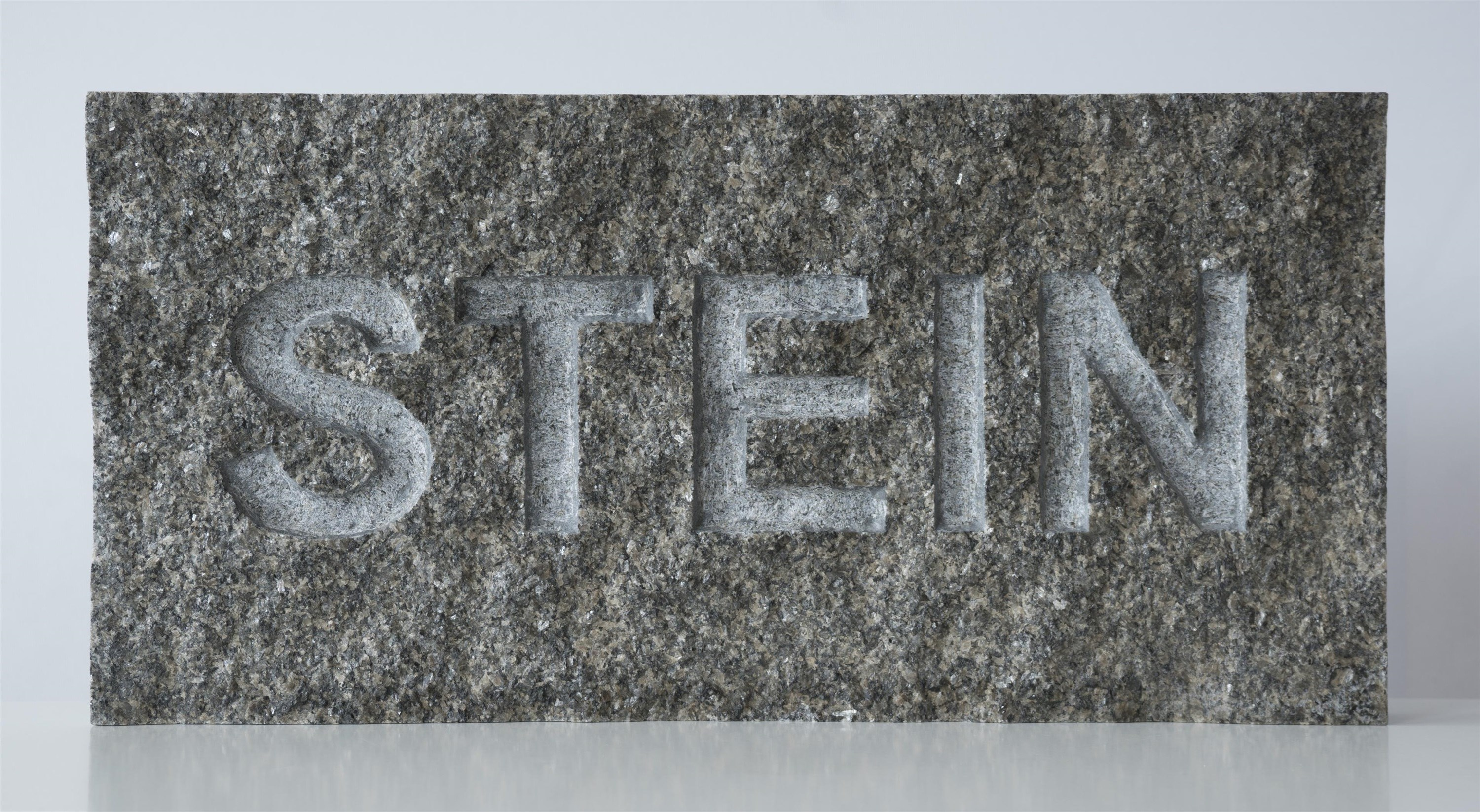"Stein als Wort (Stone as a Word; on request also a version with the word ""STONE""), original Avant-Garde Stone Sculpture by Goeth Zilla"