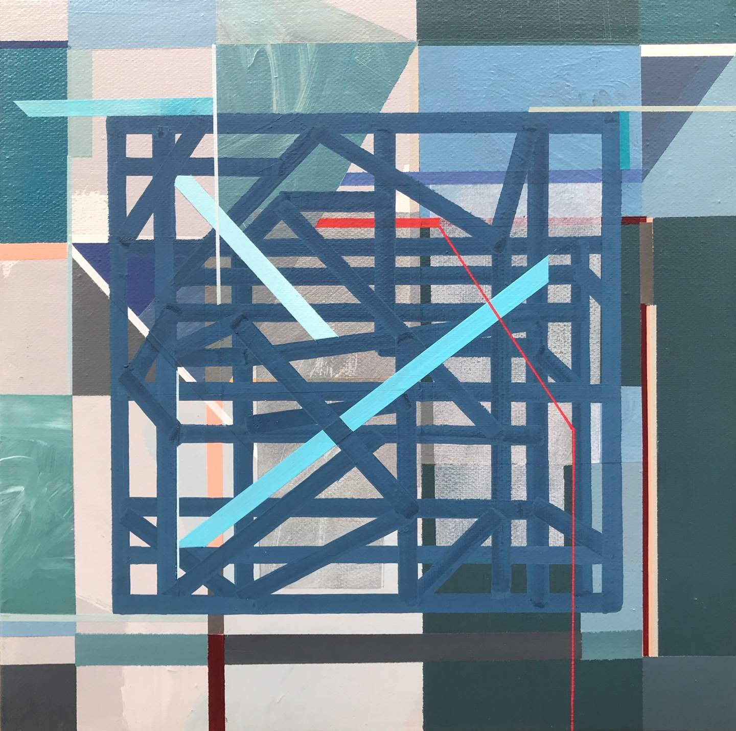 """Non-Structural IX"", original Geometric Acrylic Painting by Pedro Besugo"
