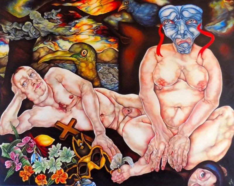Untitled with Masks, original Body Acrylic Painting by Tracy Watt
