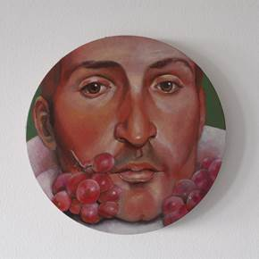 Head on a plate, original Body Oil Painting by Francisca  Sousa