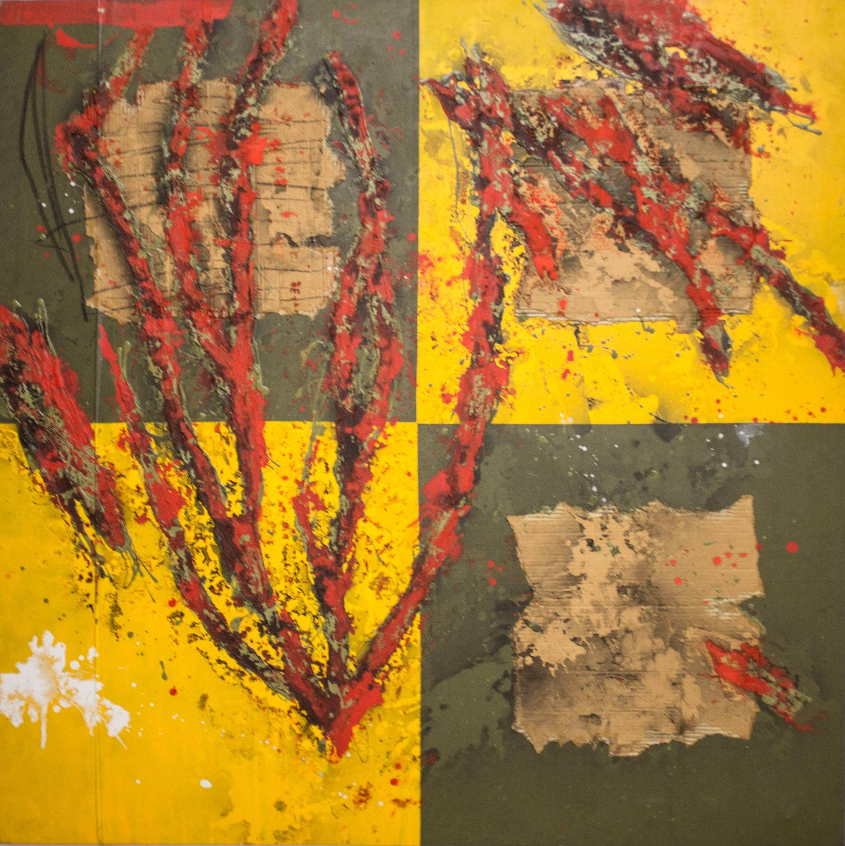 Colores para Lisboa, original Abstract Mixed Technique Painting by José Manuel Ciria