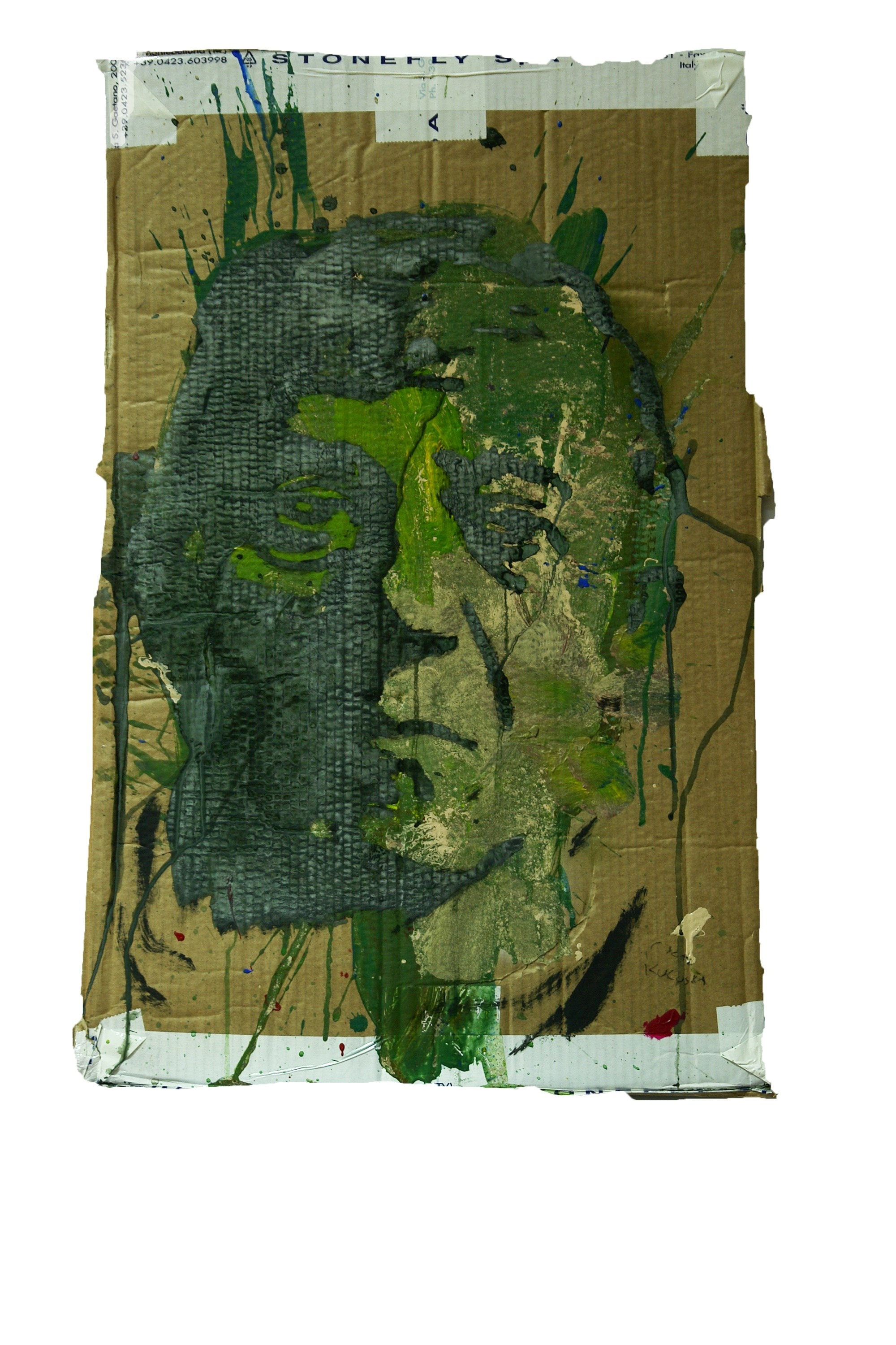 Kokoschka, original Portrait Mixed Technique Painting by Alexandre Rola