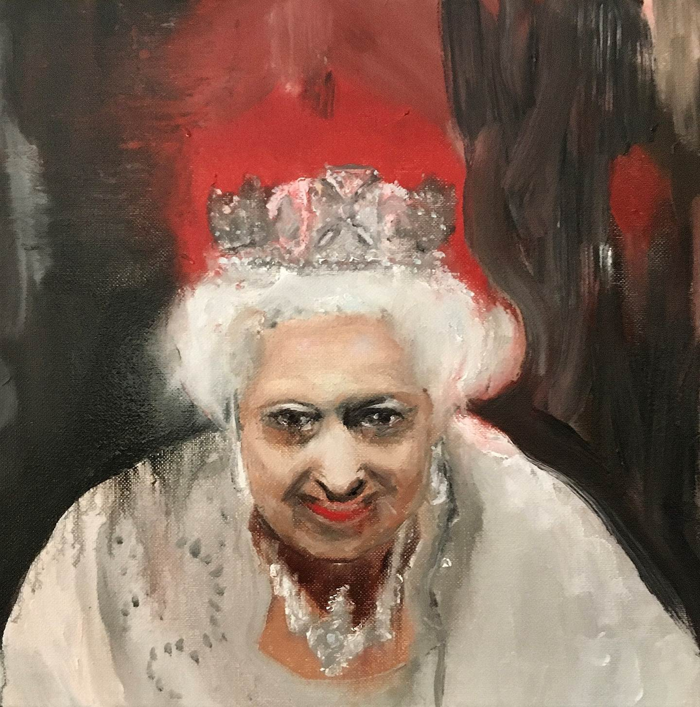 """Queen with crooked crown"", original Avant-Garde Canvas Painting by Pedro Martinez Marín"