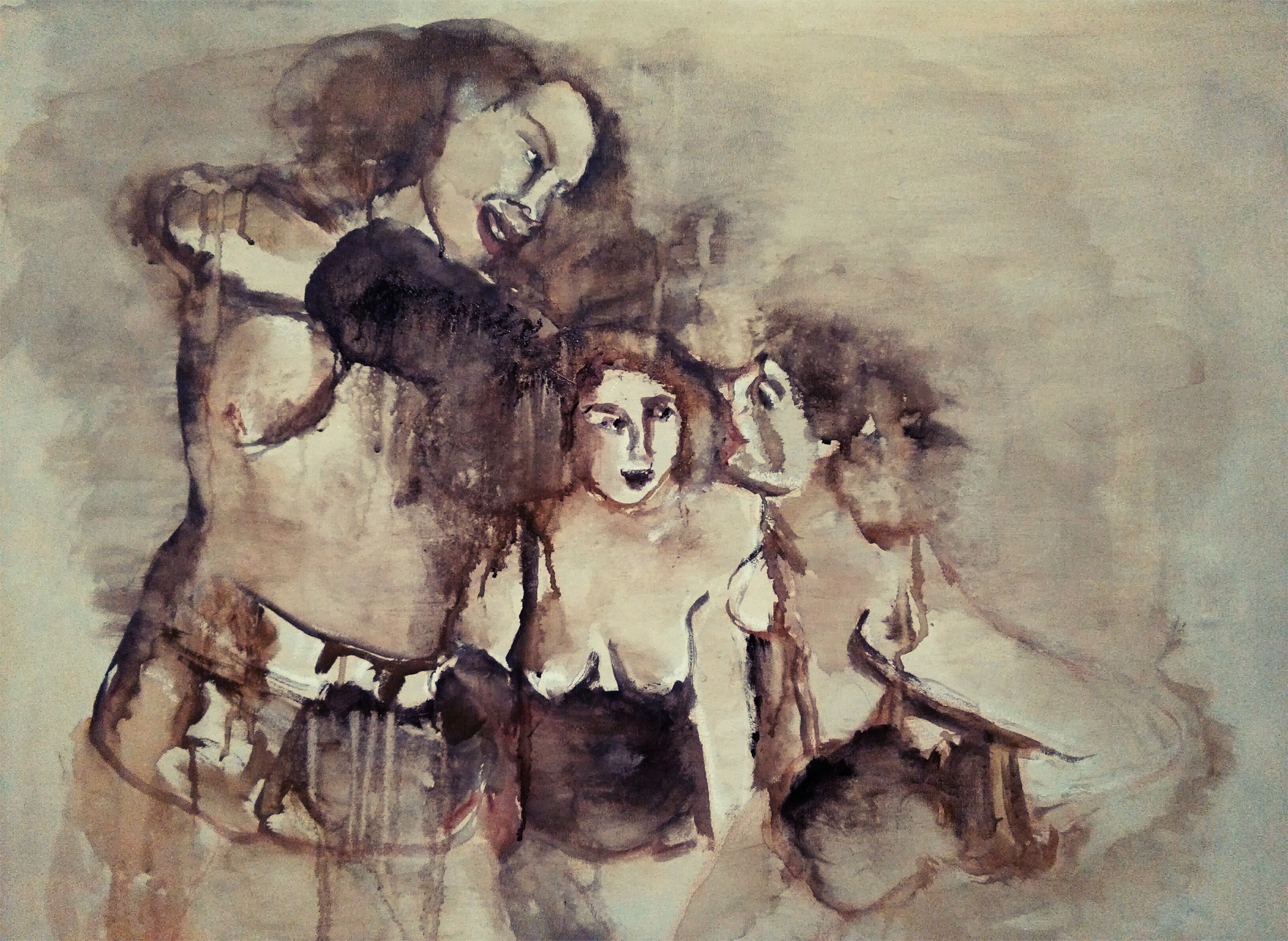 Let´s work together, original Avant-Garde Mixed Technique Painting by CARLA GONCALVES