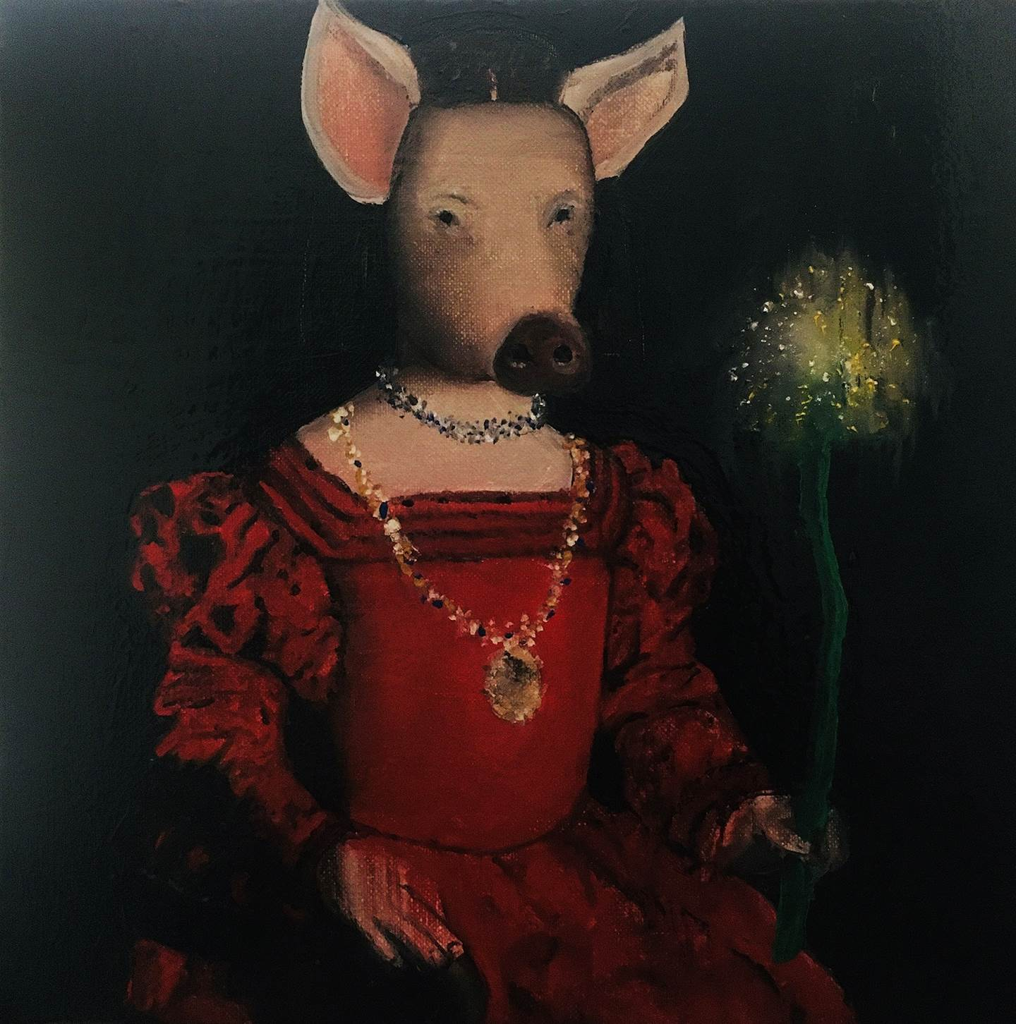 Me da igual rojo que verde, original Animals Canvas Painting by Pedro Martinez Marín