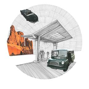 Mercedes Benz 300 SL, original Architecture Collage Drawing and Illustration by Florisa Novo Rodrigues