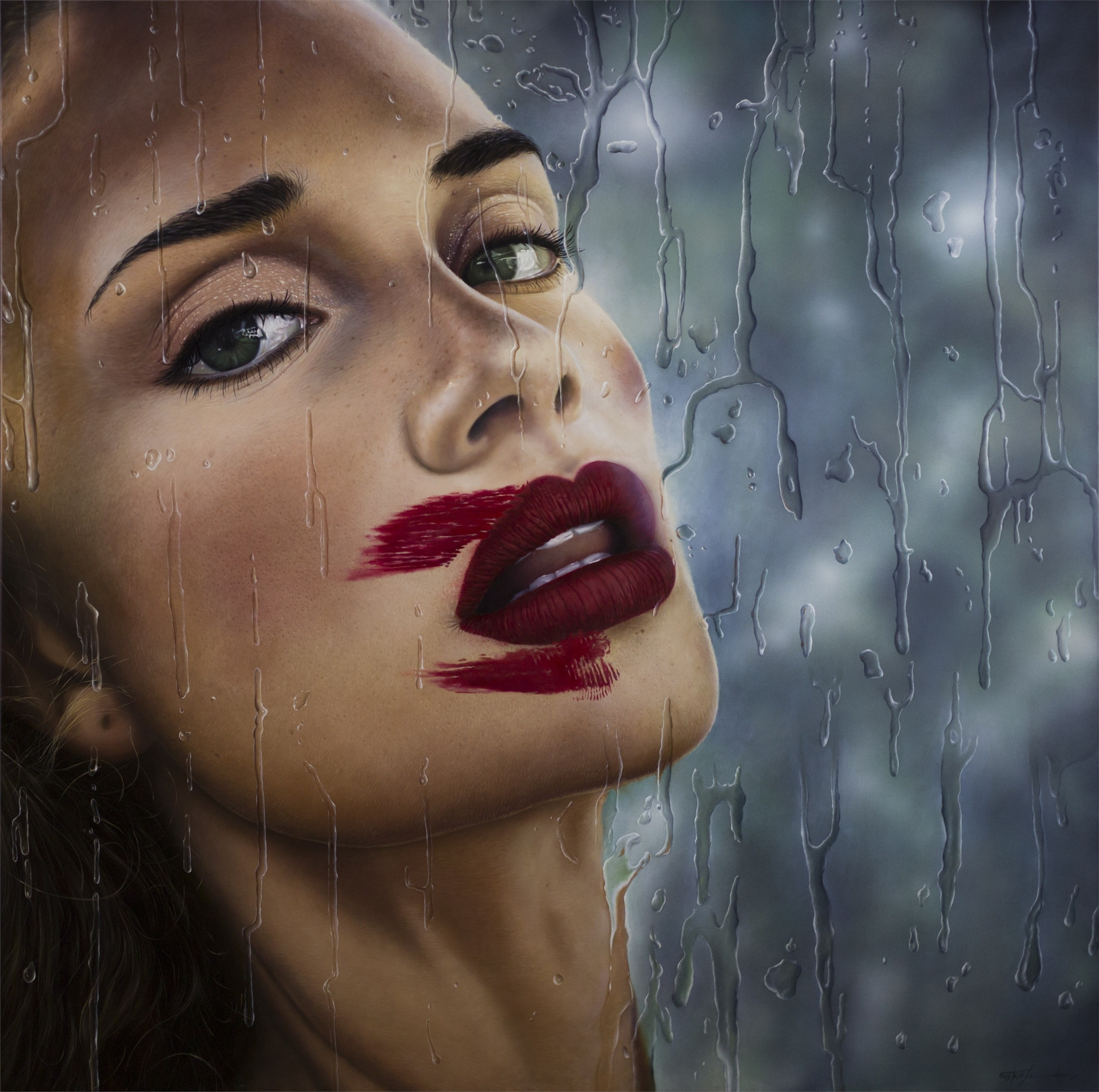 Cherry Lips, original Woman Oil Painting by Gustavo Fernandes