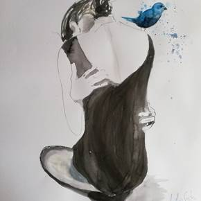 Bringing Hope, original Human Figure Ink Painting by Ana Maria Costa