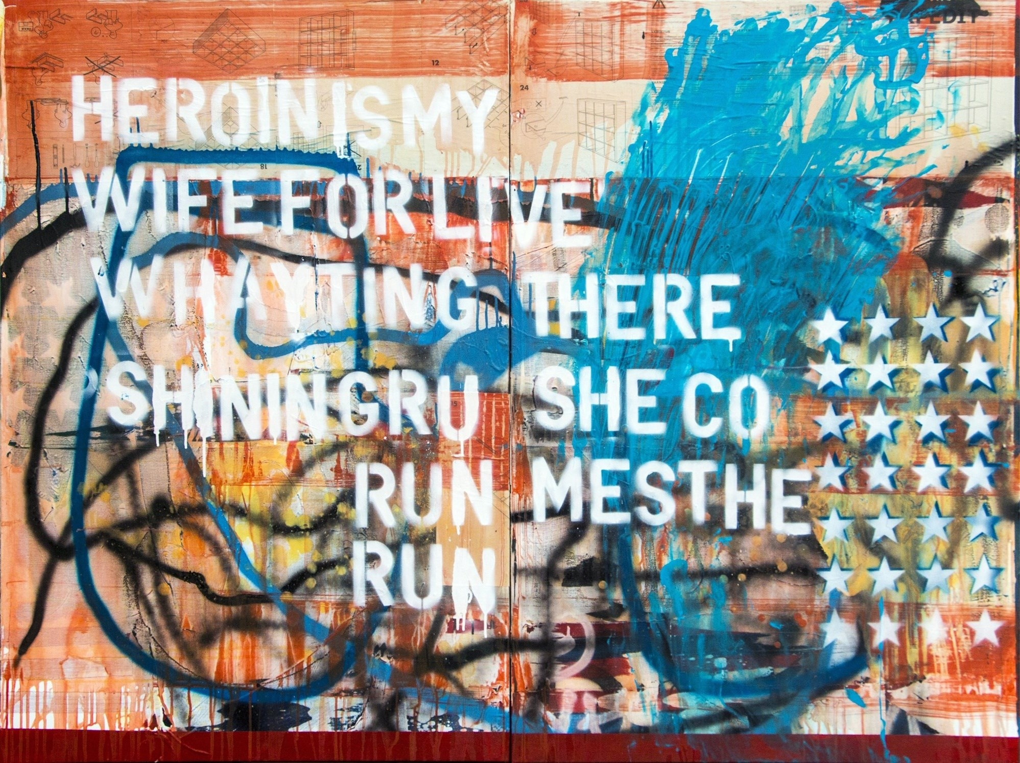 Heroin is My Wife For Live, Pintura Acrílico Abstrato original por Paulo Moreira
