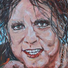 Come closer and see, original Portrait Acrylic Painting by Manecas  Camelo