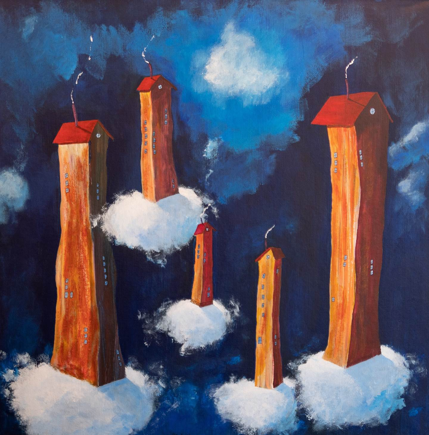 Electric clouds heading to Skellefteå city!, original Places Acrylic Painting by Per Nylén
