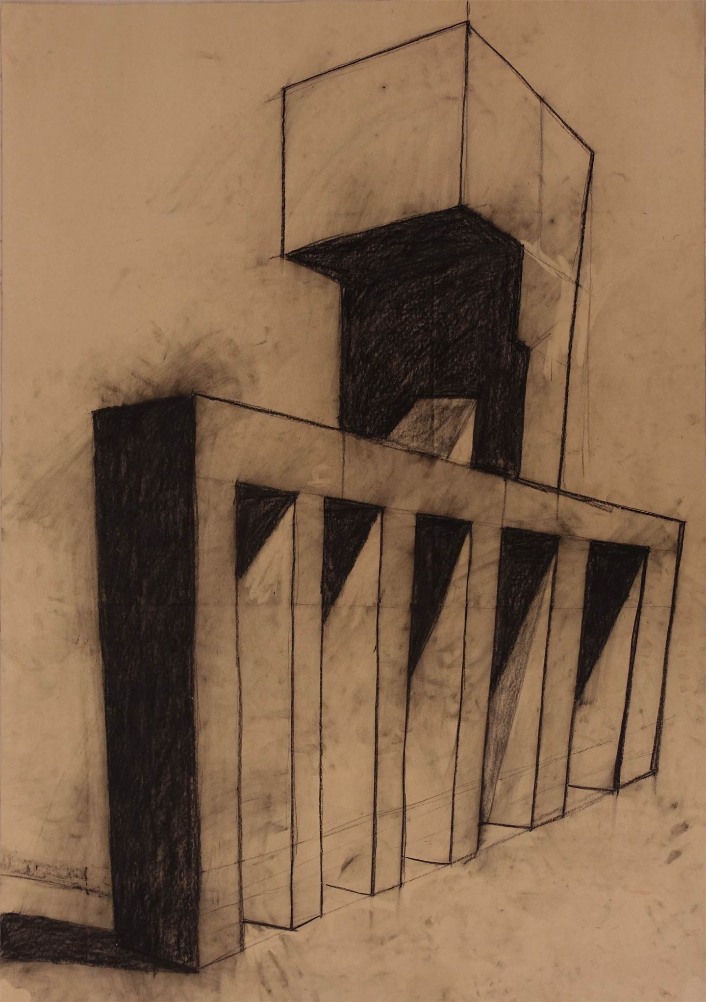 Industrial landscape, original Architecture Charcoal Drawing and Illustration by Lorenzo Bordonaro