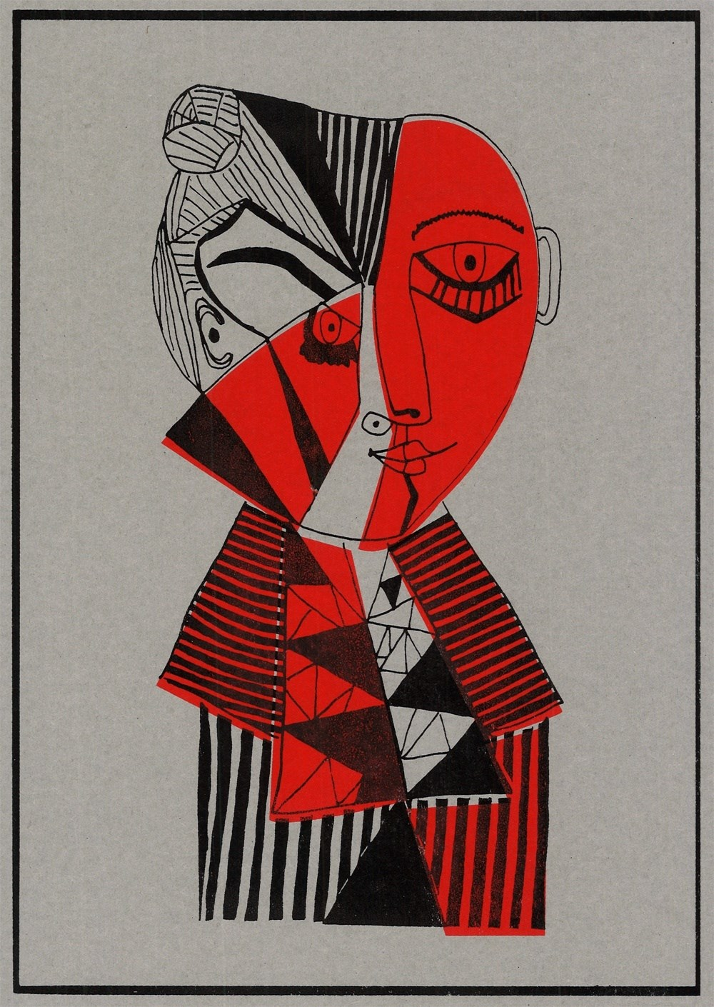 Mulher Multifacetada , original Abstract Card Drawing and Illustration by Inês Peres