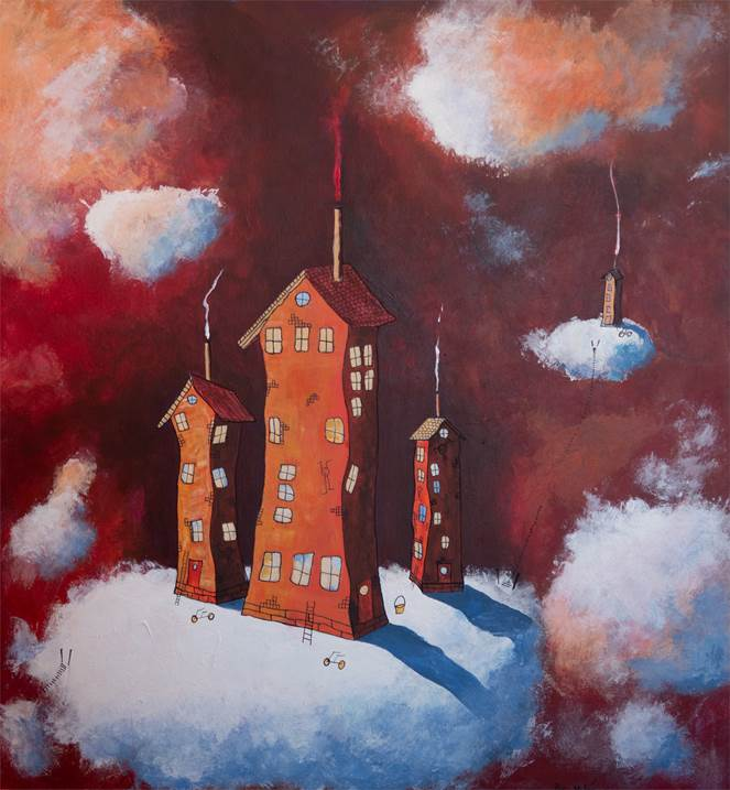 Now we can see if Sven is awake, original Places Acrylic Painting by Per Nylén