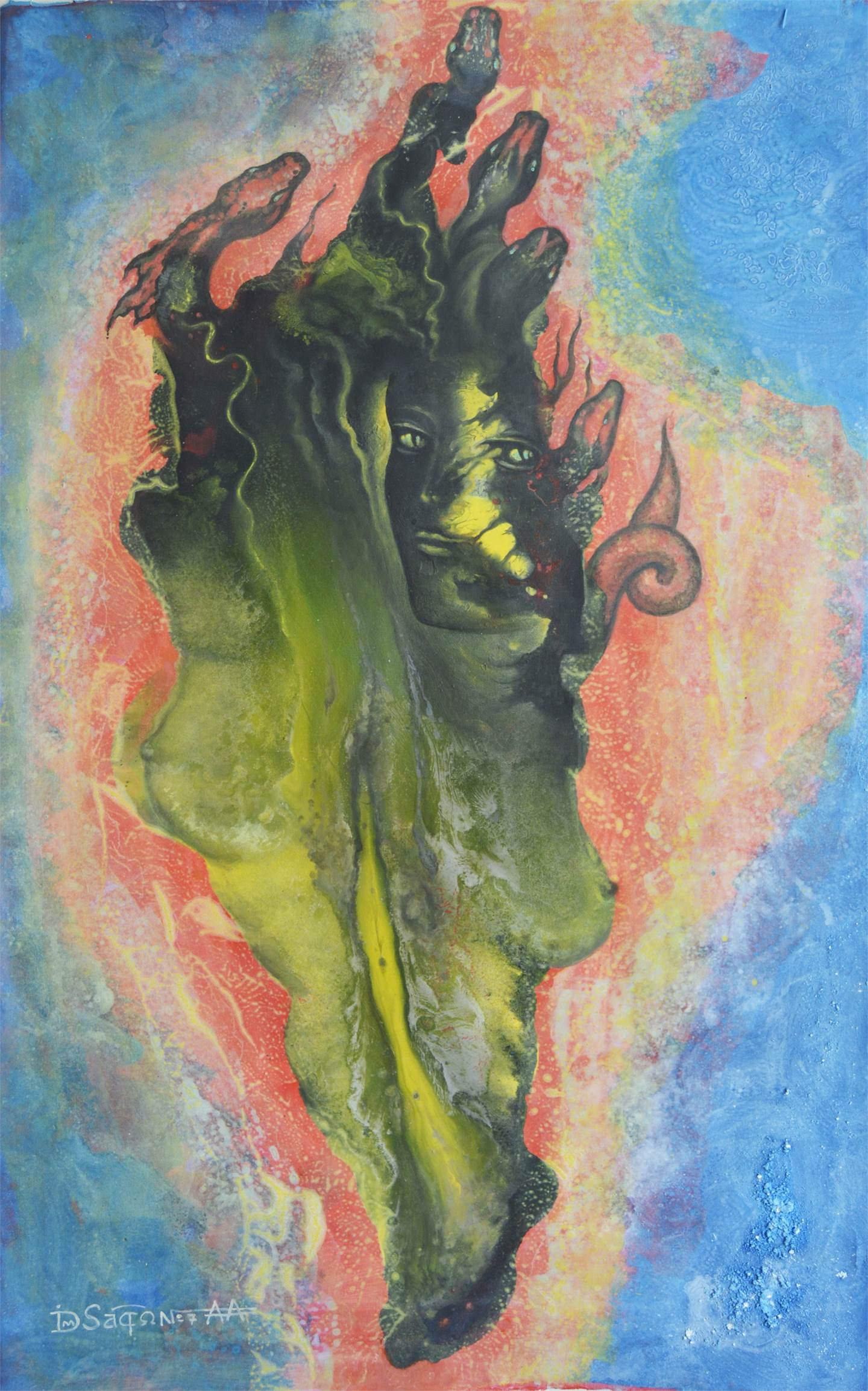 Birth of Medusa, original Abstract Canvas Painting by Andrei Autumn