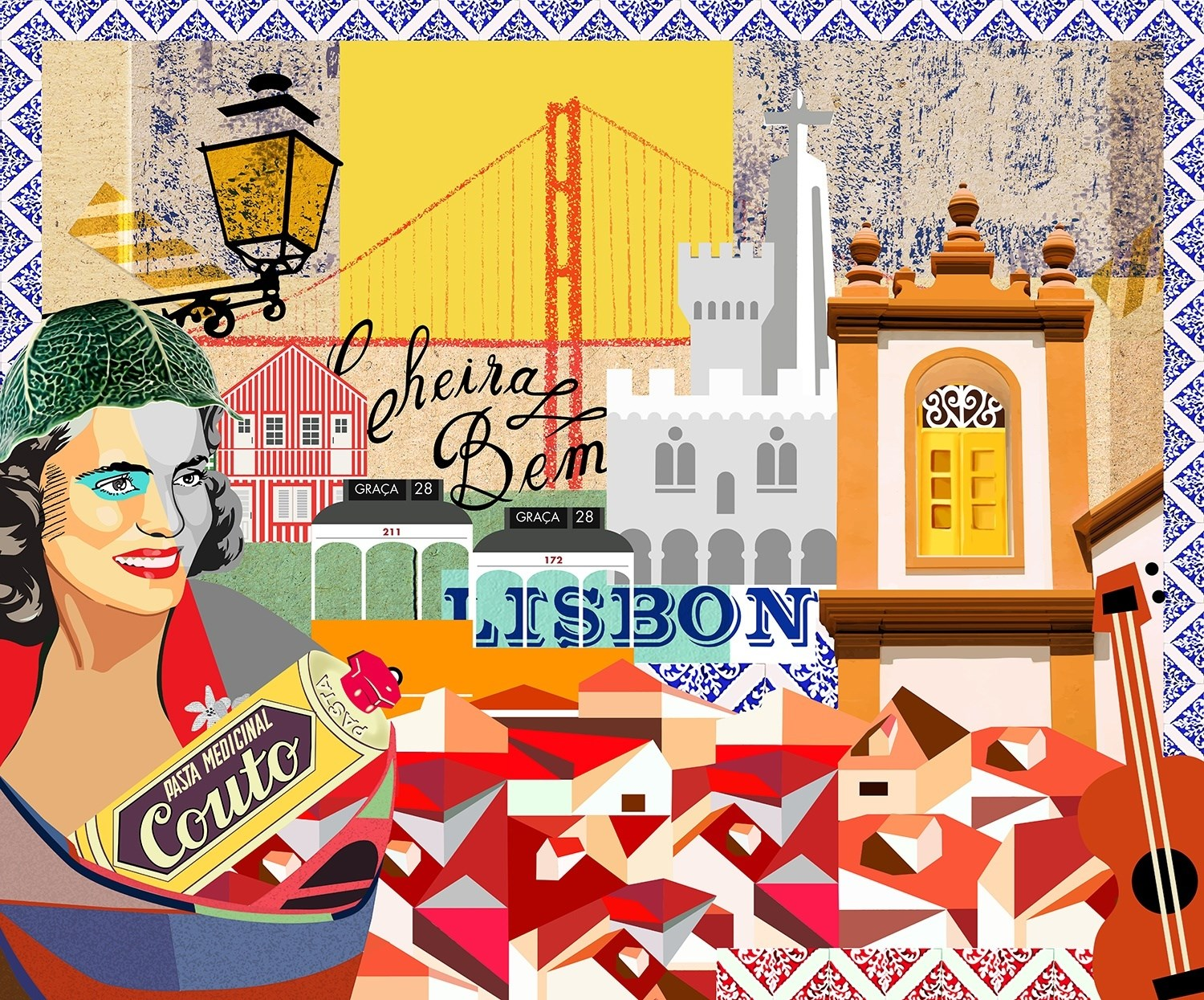 Cheira a Lisboa, original Places Collage Drawing and Illustration by Maria João Faustino