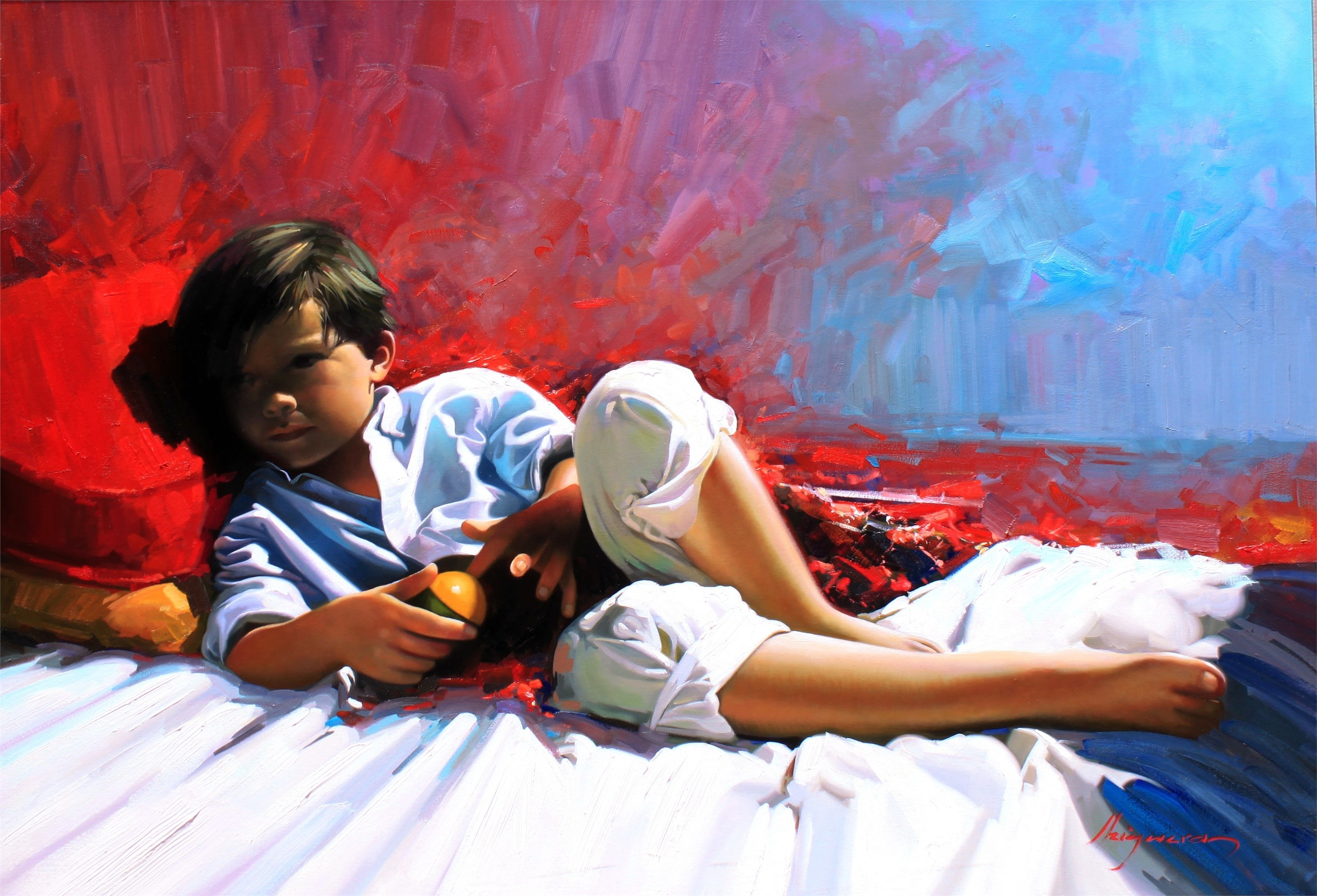 Descanso, original Human Figure Canvas Painting by Jose Higuera