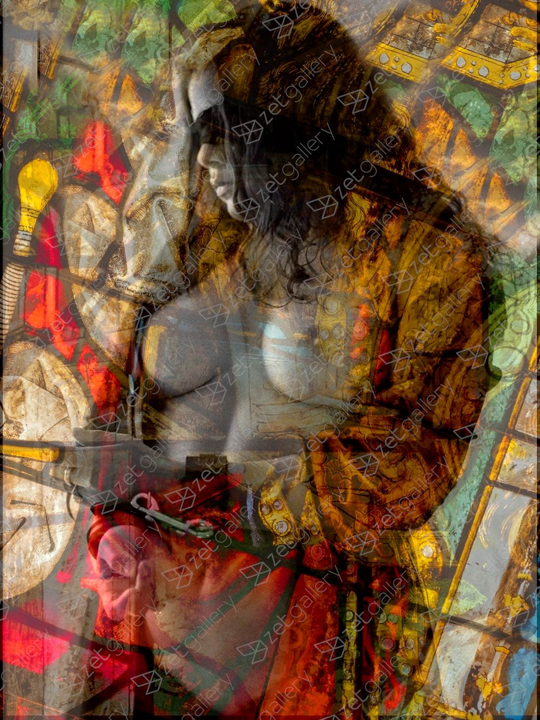 Impressions On A Stained Glass Window, original Religion Digital Photography by Richard Nicole
